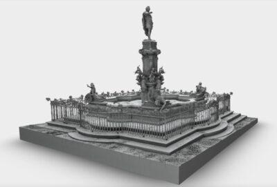 Hier benötigt unser Kunde zur Konstruktion einer Winterabdeckung für einen Brunnen ein 3D Mesh Objekt, welches von uns in AutoCAD aus den Punktwolken konstruiert wurde.
