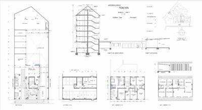 Digitalisierung Pläne. Architekten benötige präzise 2D CAD Pläne für ihre Arbeiten. Hier ein Beispiel zur Digitalisierung eines Gebäudes aus dem Jahr 1956, welcher nur als vergilbter Papierplan vorlag.