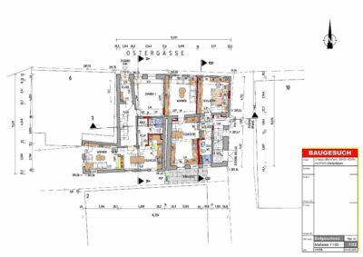 Wir digitalisieren Ihre alten Baupläne und bereiten diese zusammen mit Architekten als Baugesuch zur Vorlage beim Bauamt auf. Die Kosten für die Digitalisierung und Aufbereitung dieses EG Plans (Umbau eines MFH und DHH) beliefen sich auf 120,-€.