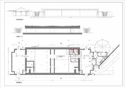 Alle drei Pläne (Ansicht, Schnitt und Grundriss) wurden für 210,-€ umgesetzt. Somit pro Plan nur 70,-€.